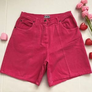 VTG PINK HIGH WAISTED DENIM MOM SHORTS 27